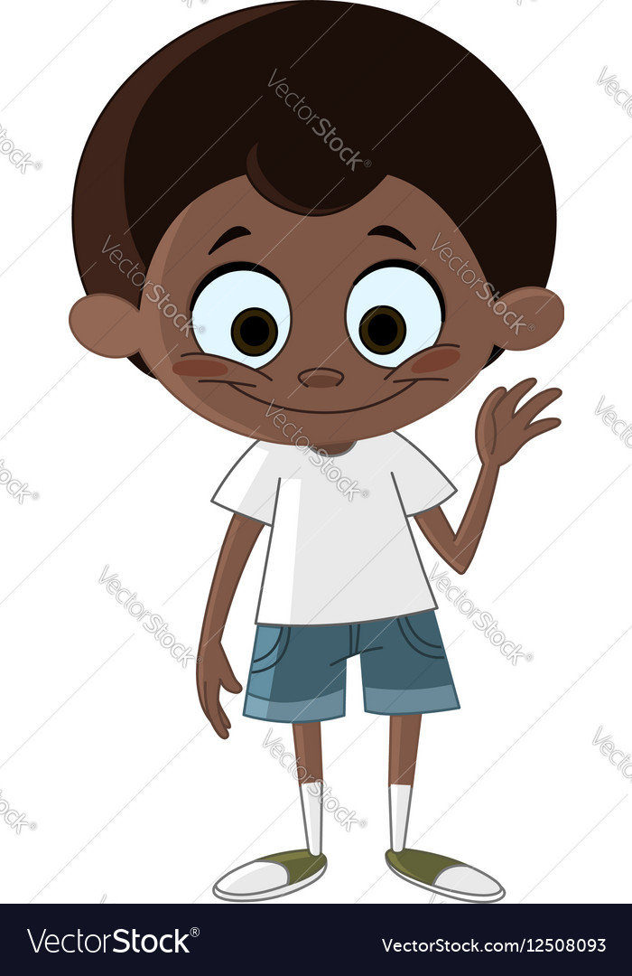 Black kid waving vector image