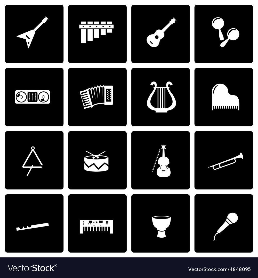 Black music instruments icon set vector image