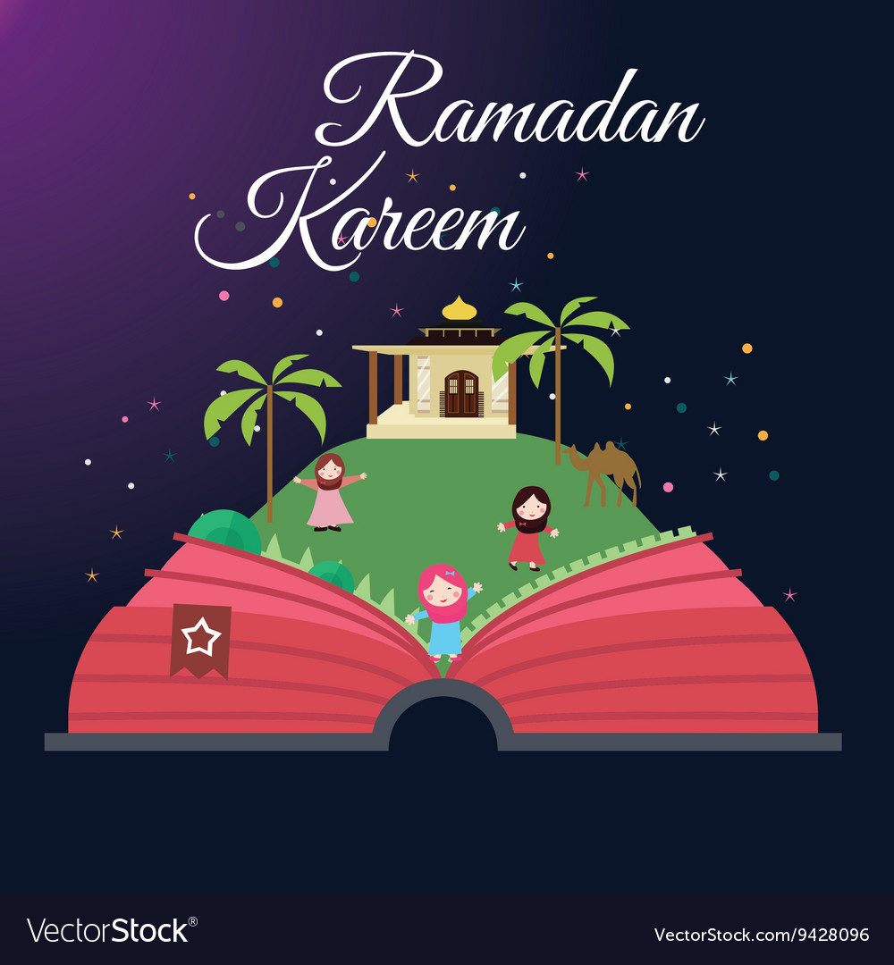 Ramadan greeting cards kids and mosque with starry ramadan greeting cards kids and mosque with starry vector image kristyandbryce Choice Image