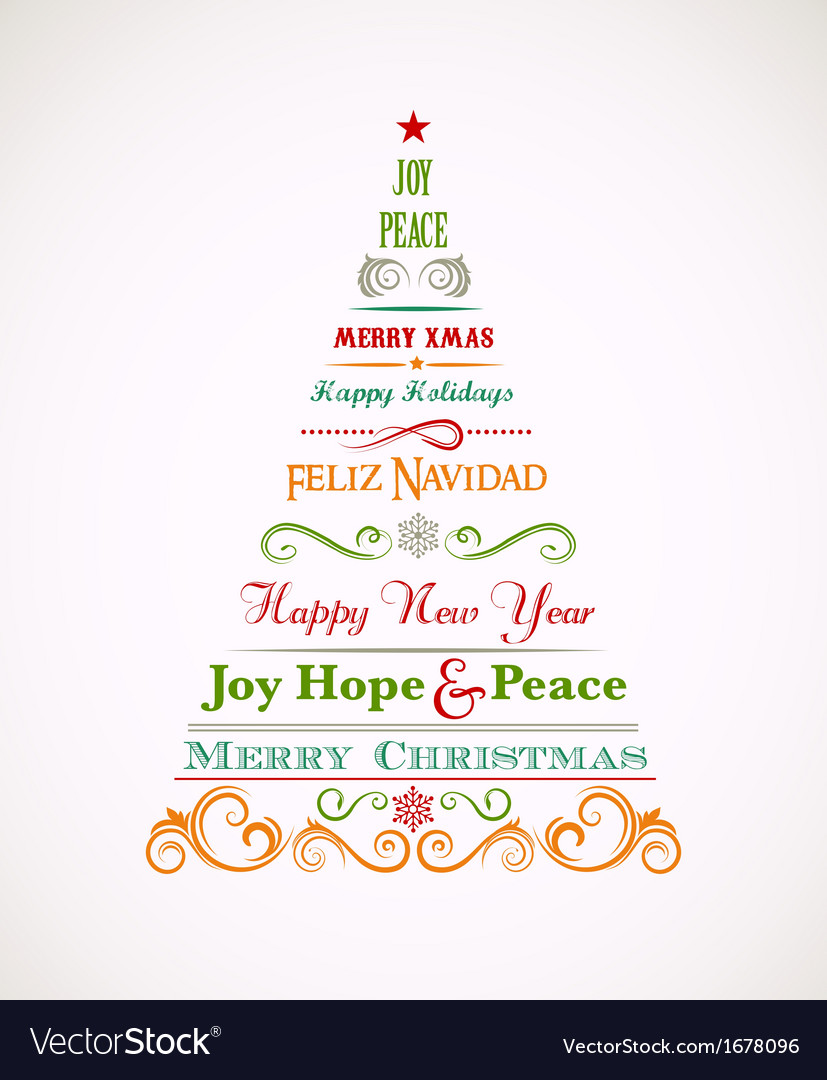 vintage christmas tree with text and elements vector image - Vintage Christmas Trees