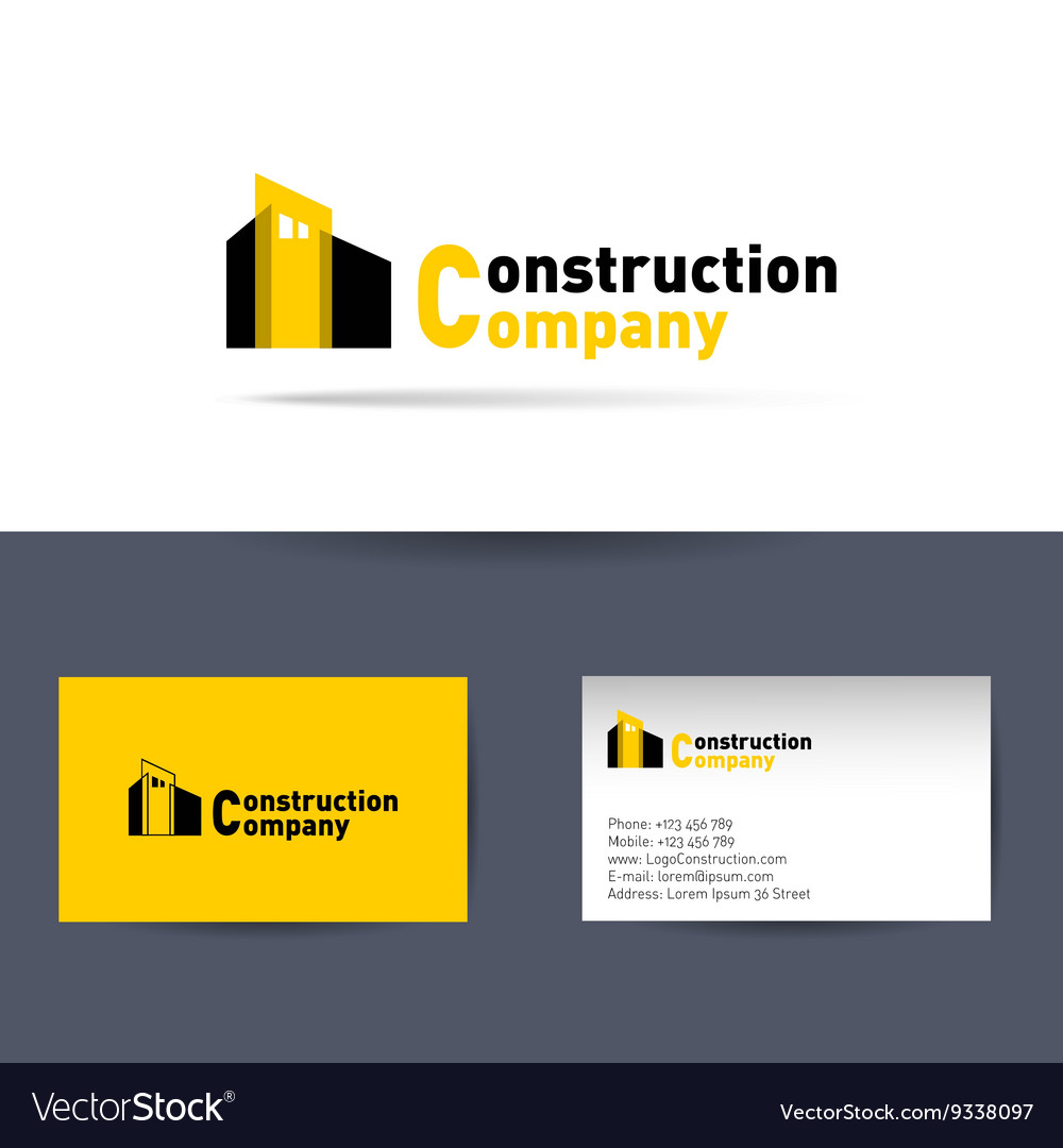 Construction company business card template vector image colourmoves