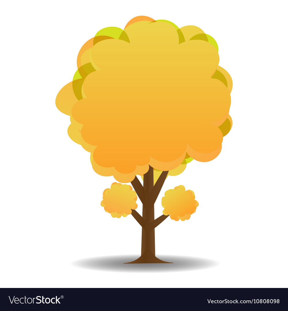 A stylized drawing of a yellow autumn trees vector image