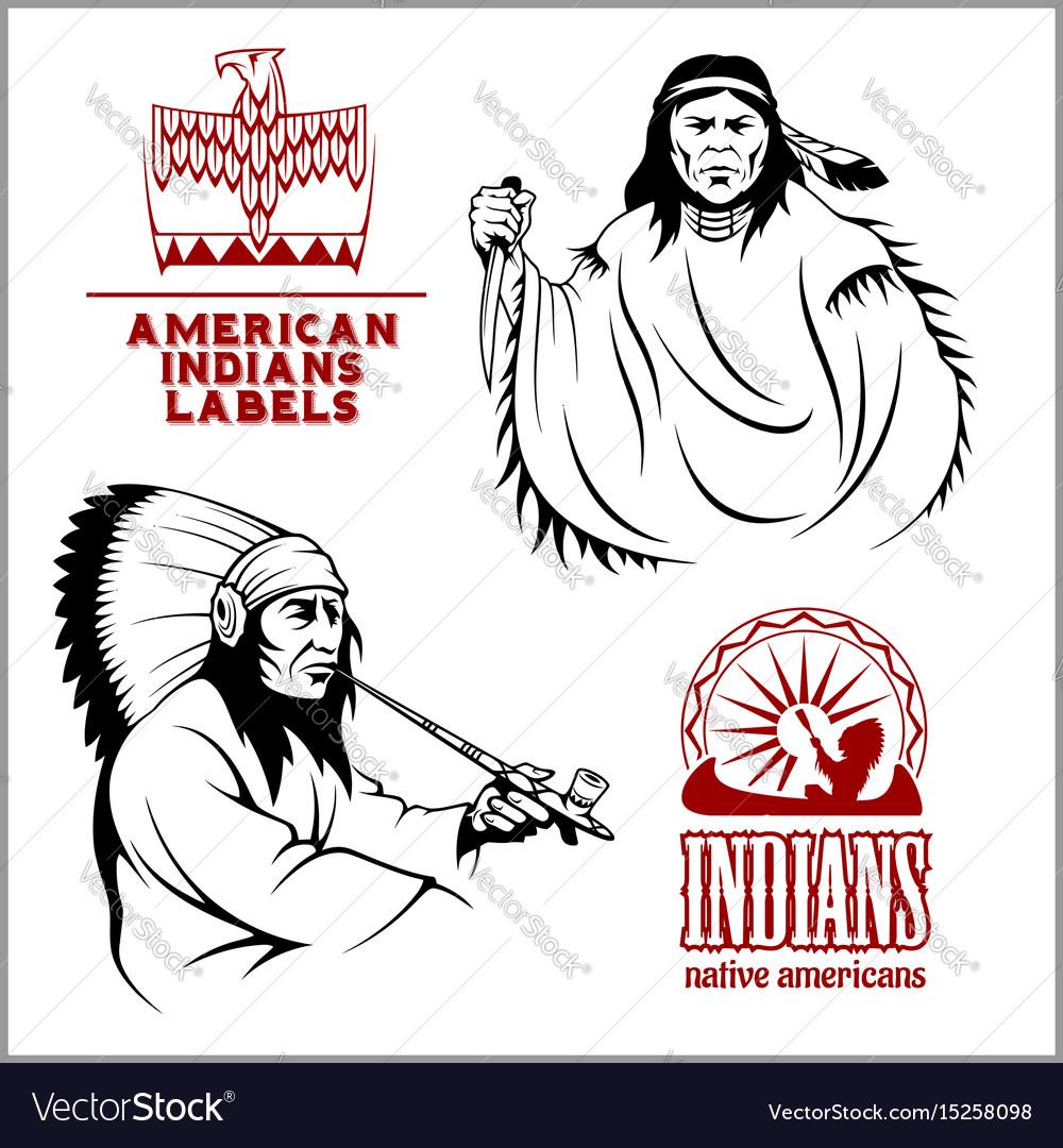 American indians set of vintage emblems labels vector image