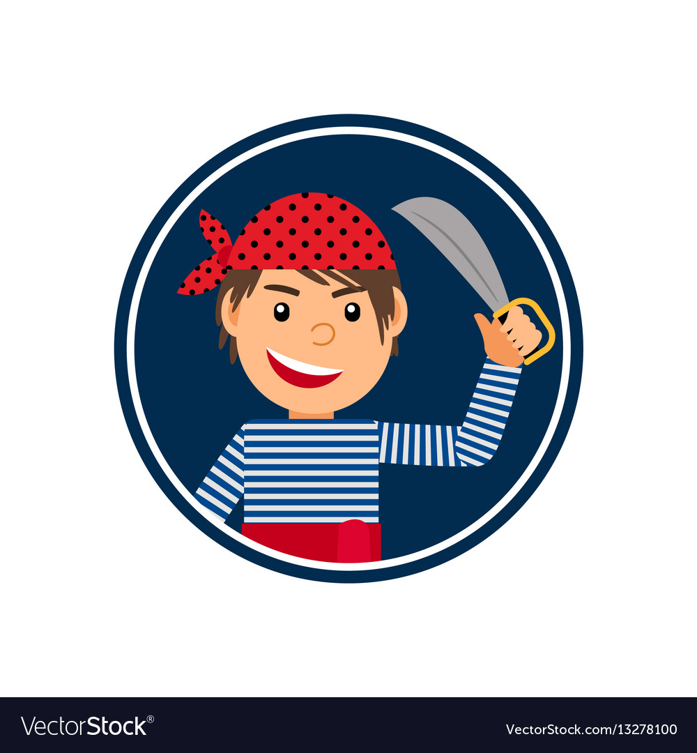 Pirate with knife icon in circle vector image
