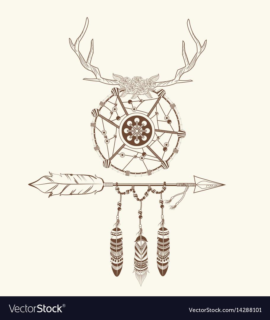 Dream catcher horns arrow feathers decoration vector image
