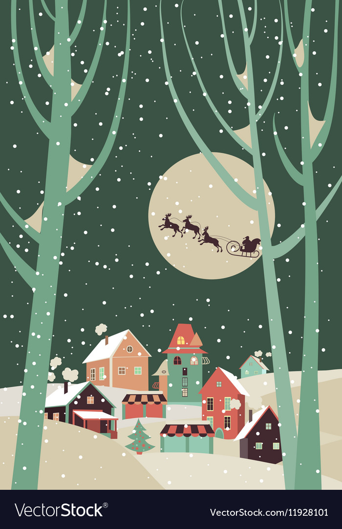 Santa Claus sleigh with reindeer fly over the city vector image