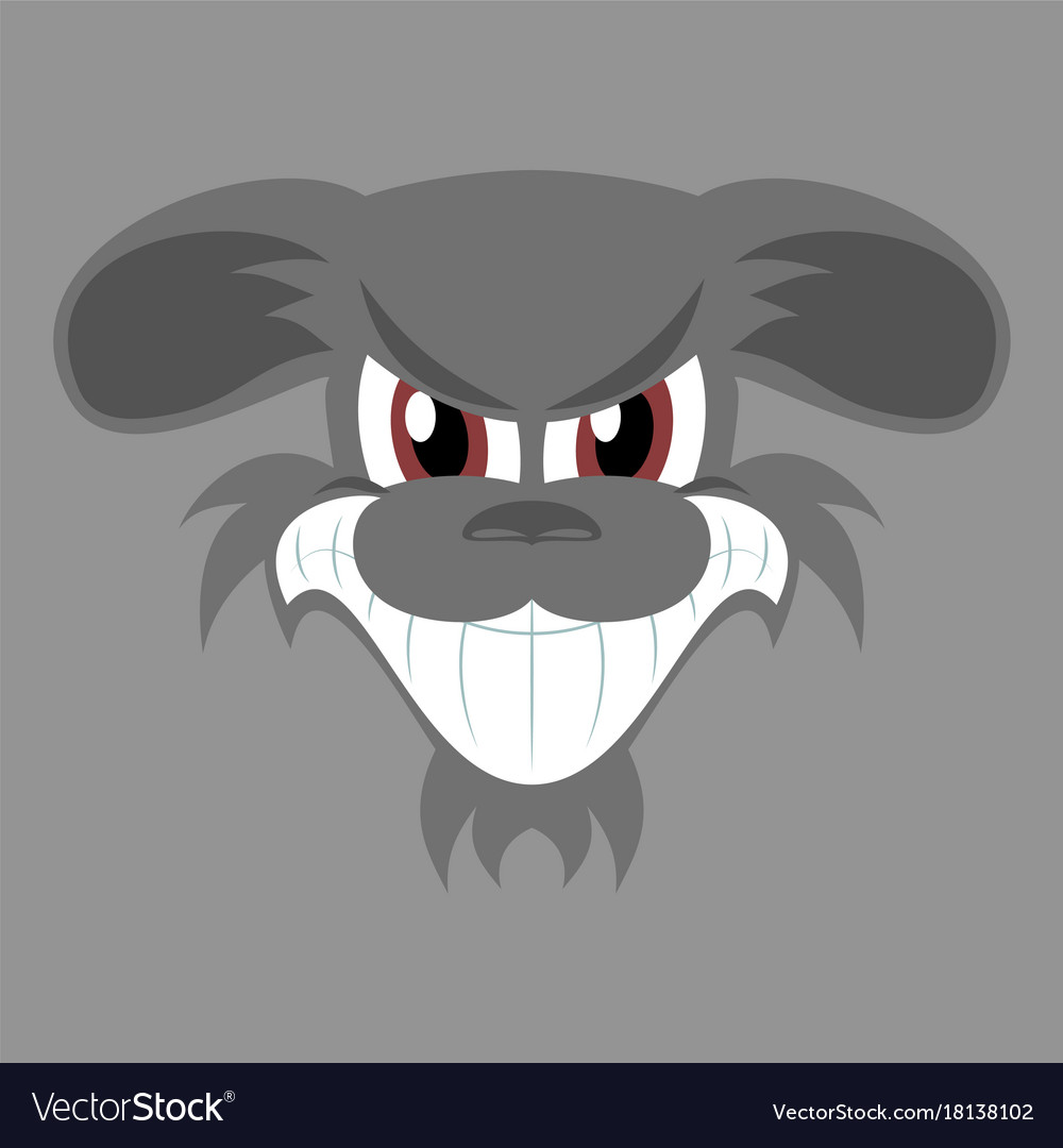rabid dog in flat style and icon