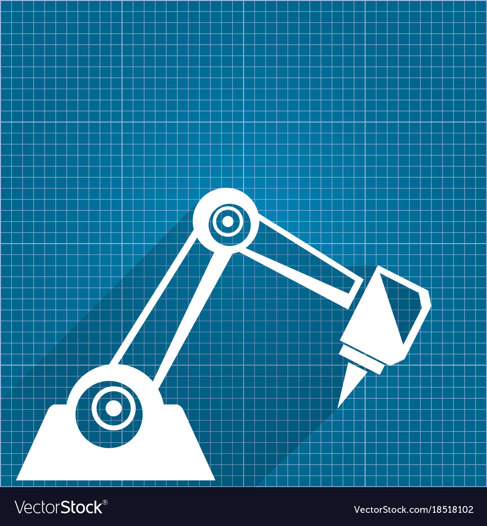 Robotic arm symbol on blueprint paper royalty free vector robotic arm symbol on blueprint paper vector image malvernweather Image collections