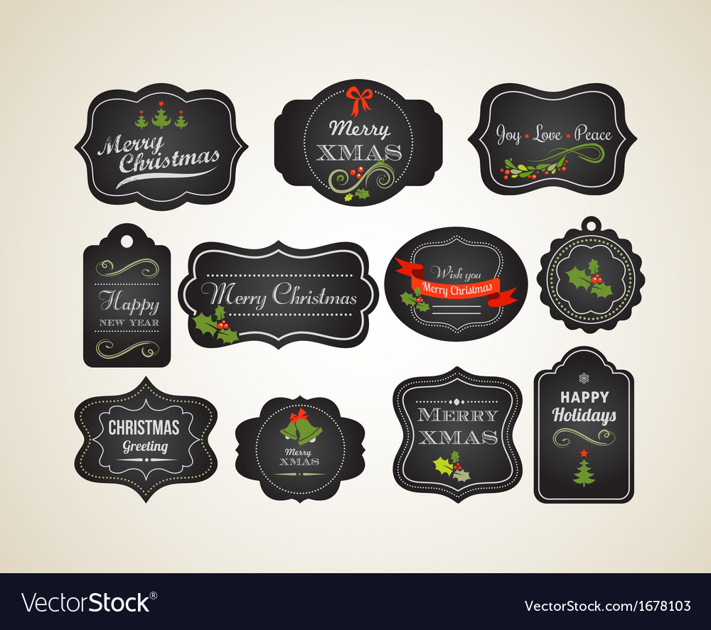 Chalkboard Christmas vintage invitation and labels vector image