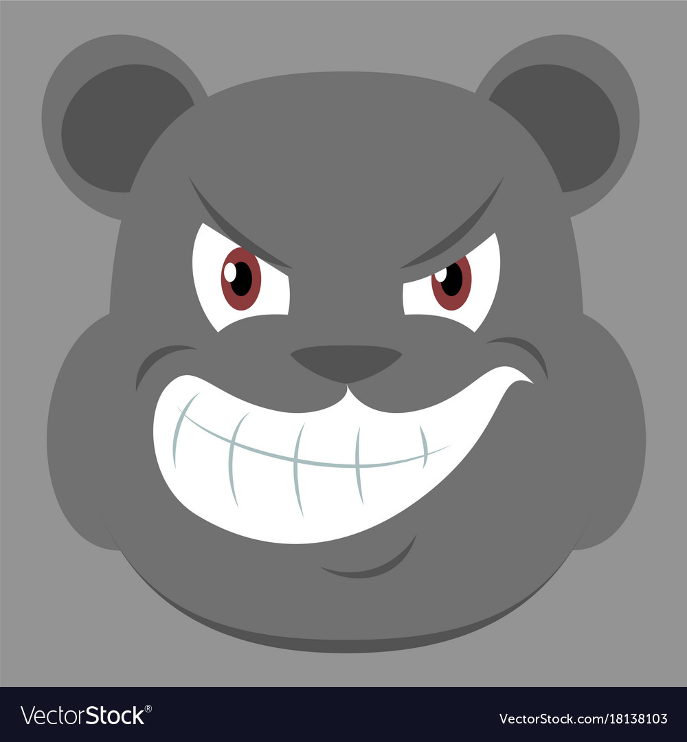Flat icon on theme evil animal angry bear