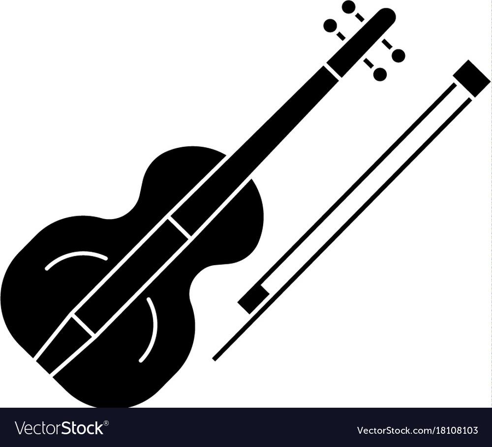Violin icon black sign on vector image