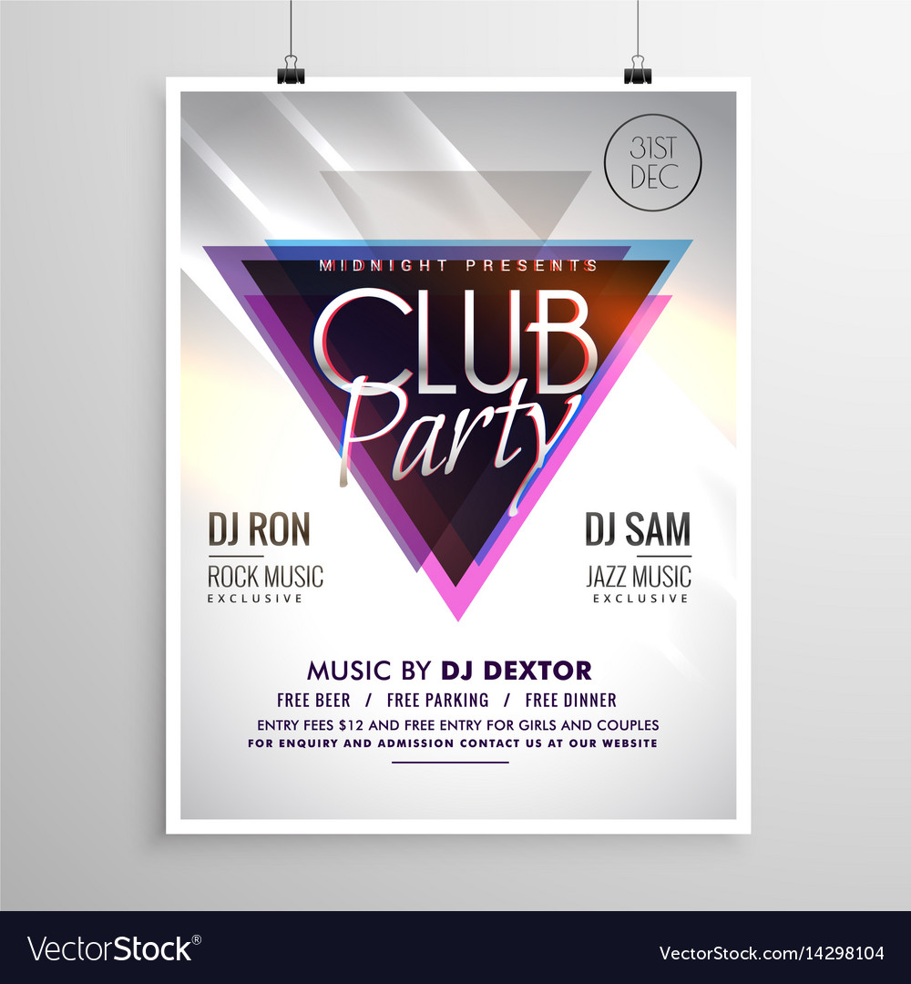 Club Party Music Flyer Invitation Template Poster Vector Image - Party invitation template: club party invitation template