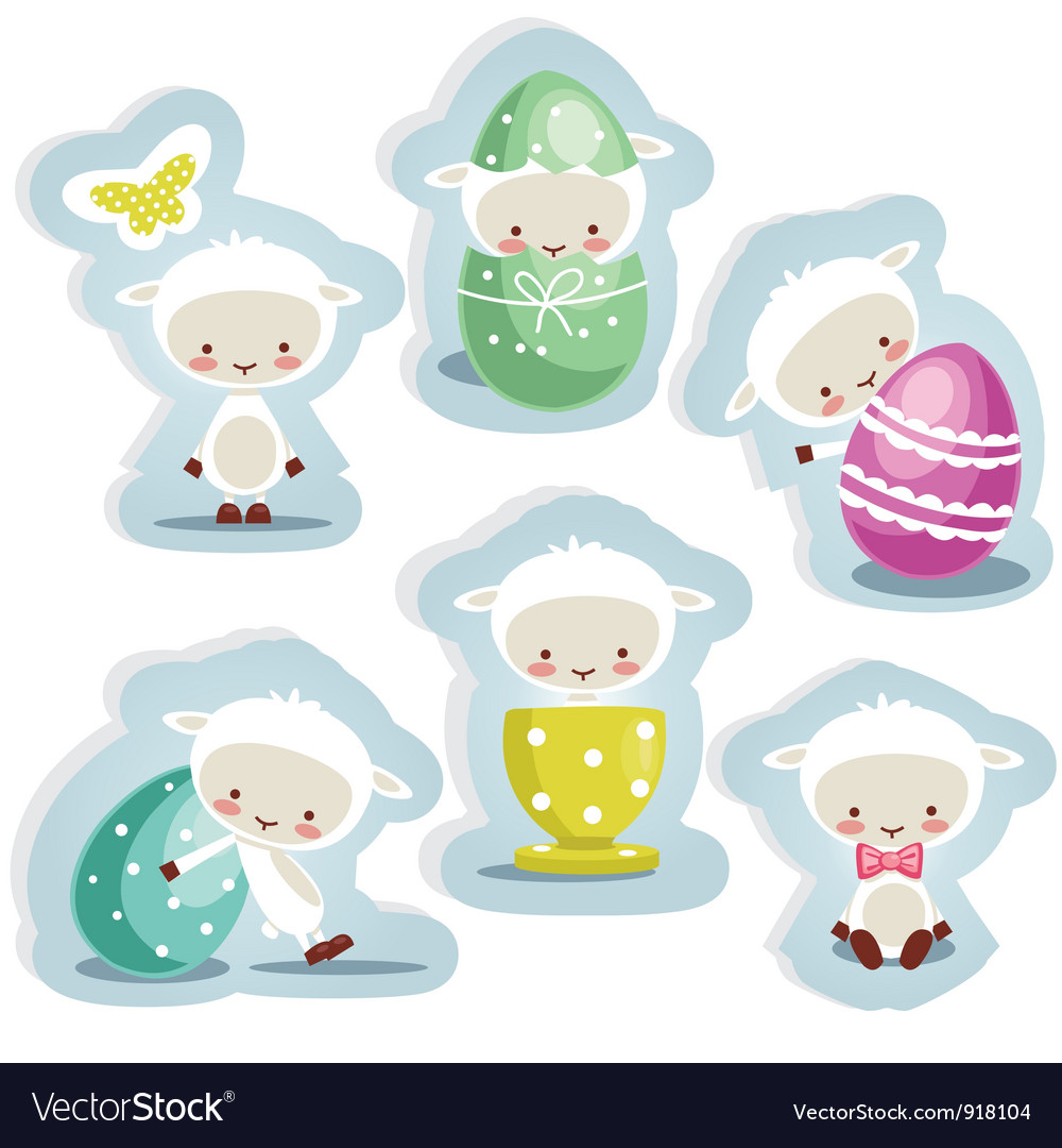 Cute easter stickers vector image