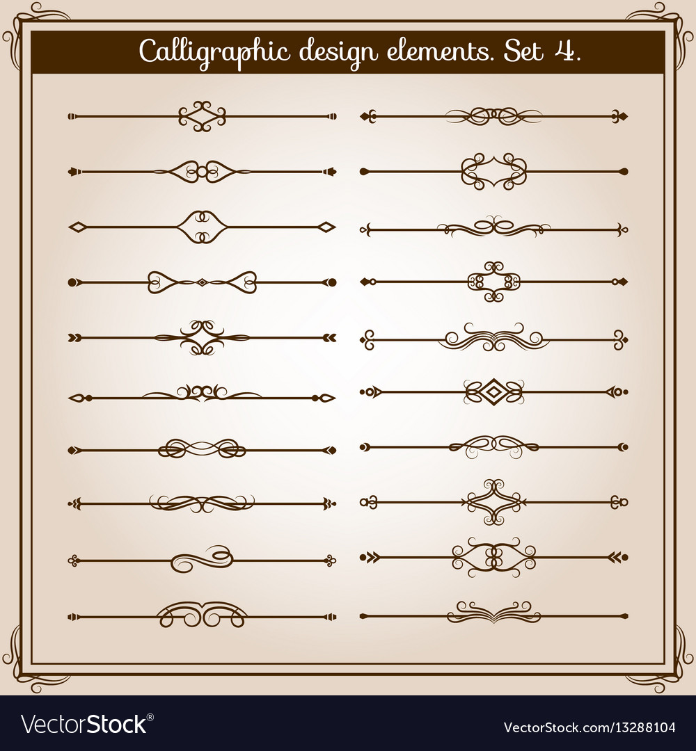 Retro simple scroll page dividers vintage vector image