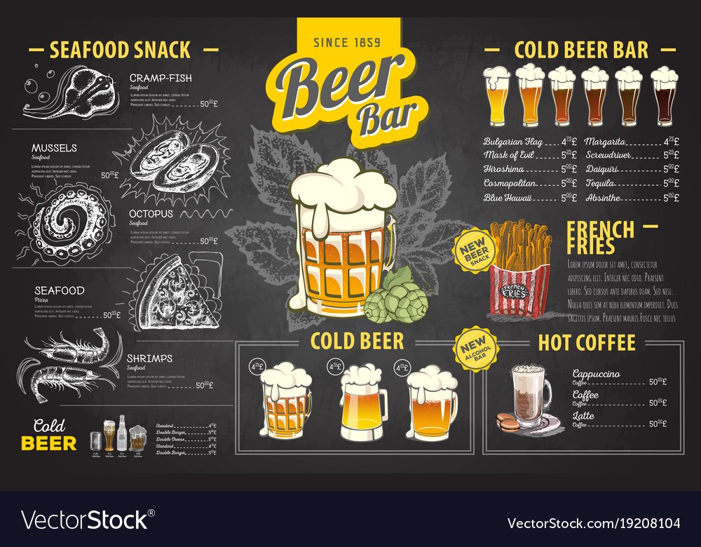 Vintage Chalk Drawing Beer Menu Design Royalty Free Vector