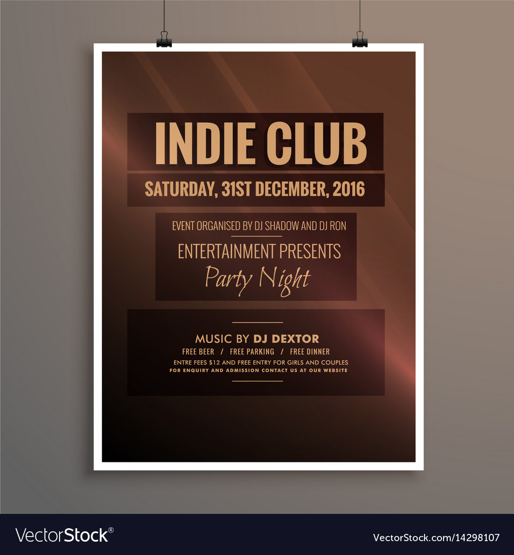 Indie club dj party night flyer banner template Vector Image