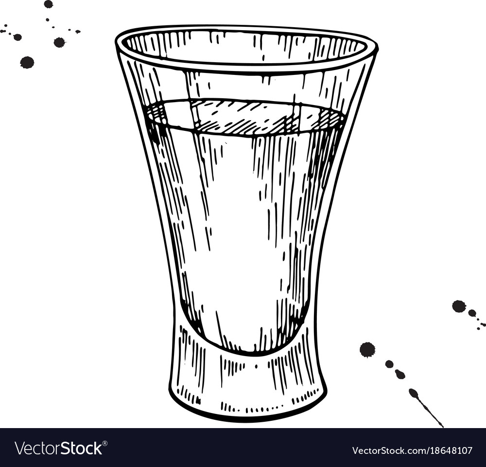 Shot glass drawing tequila vodka cocktail vector image
