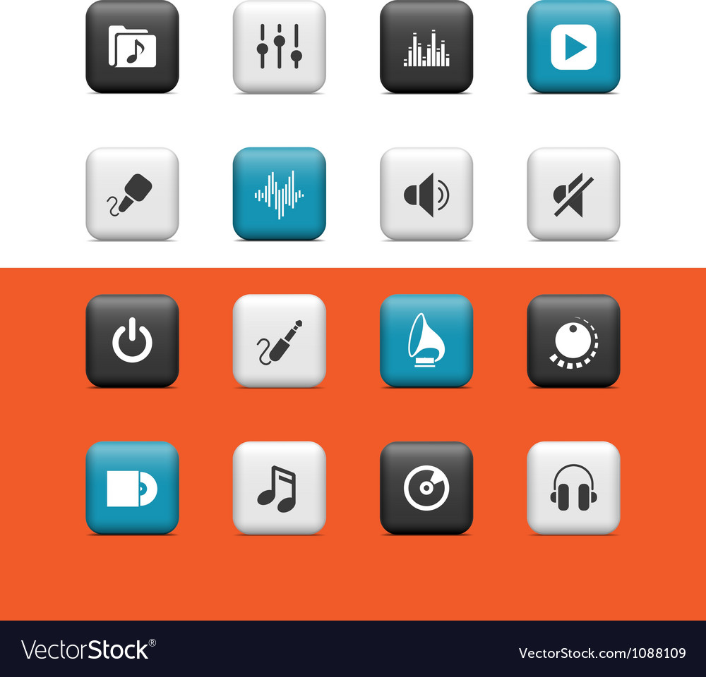 Audio Media buttons vector image