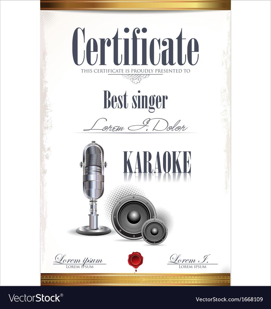 Karaoke Certificate Template Royalty Free Vector Image