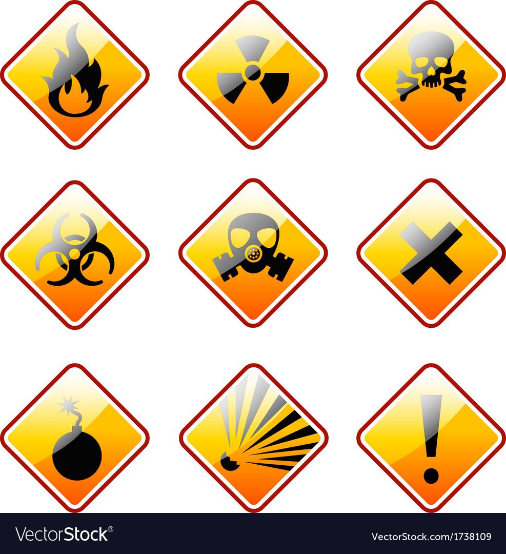 Orange warning signs vector image