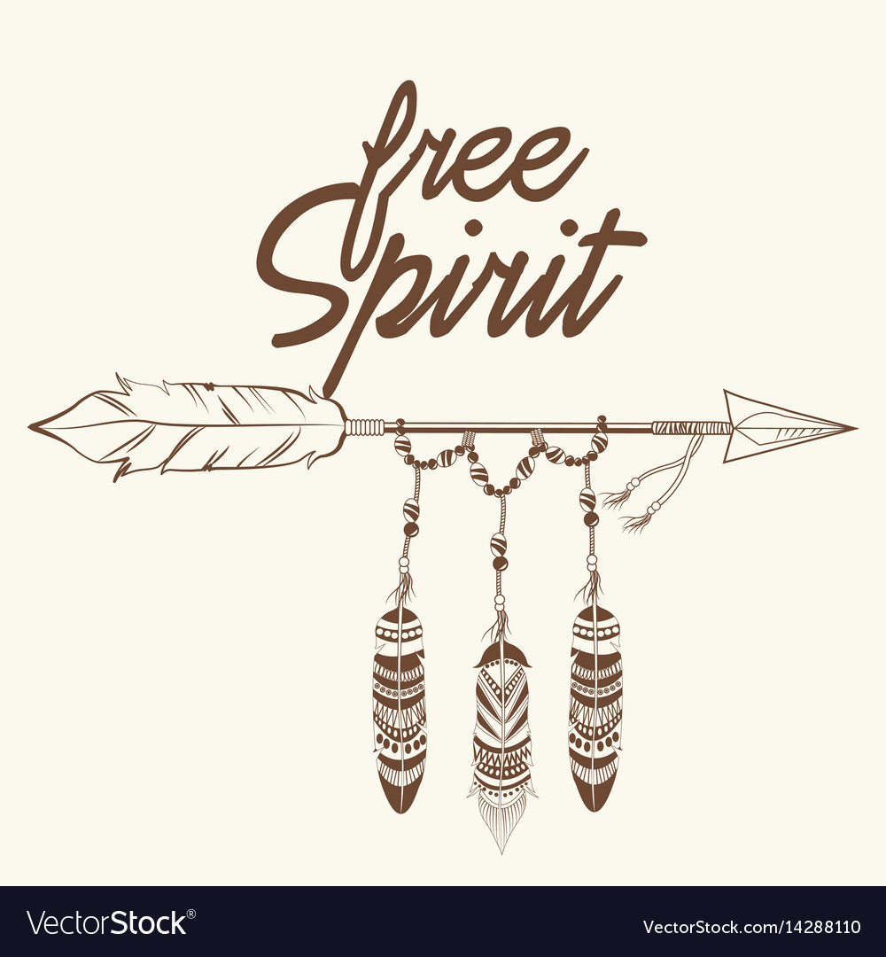 Free spirit arrow with fearthers vector image
