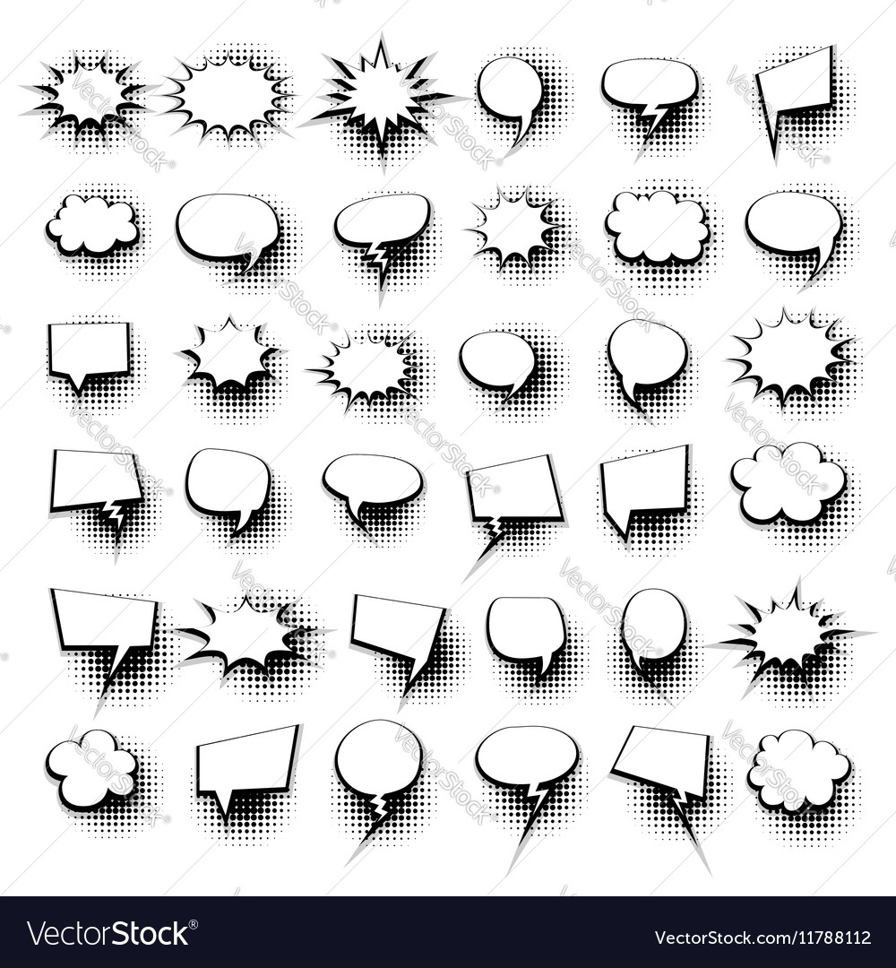 Big set 36 hand drawn comic speech bubbles vector image