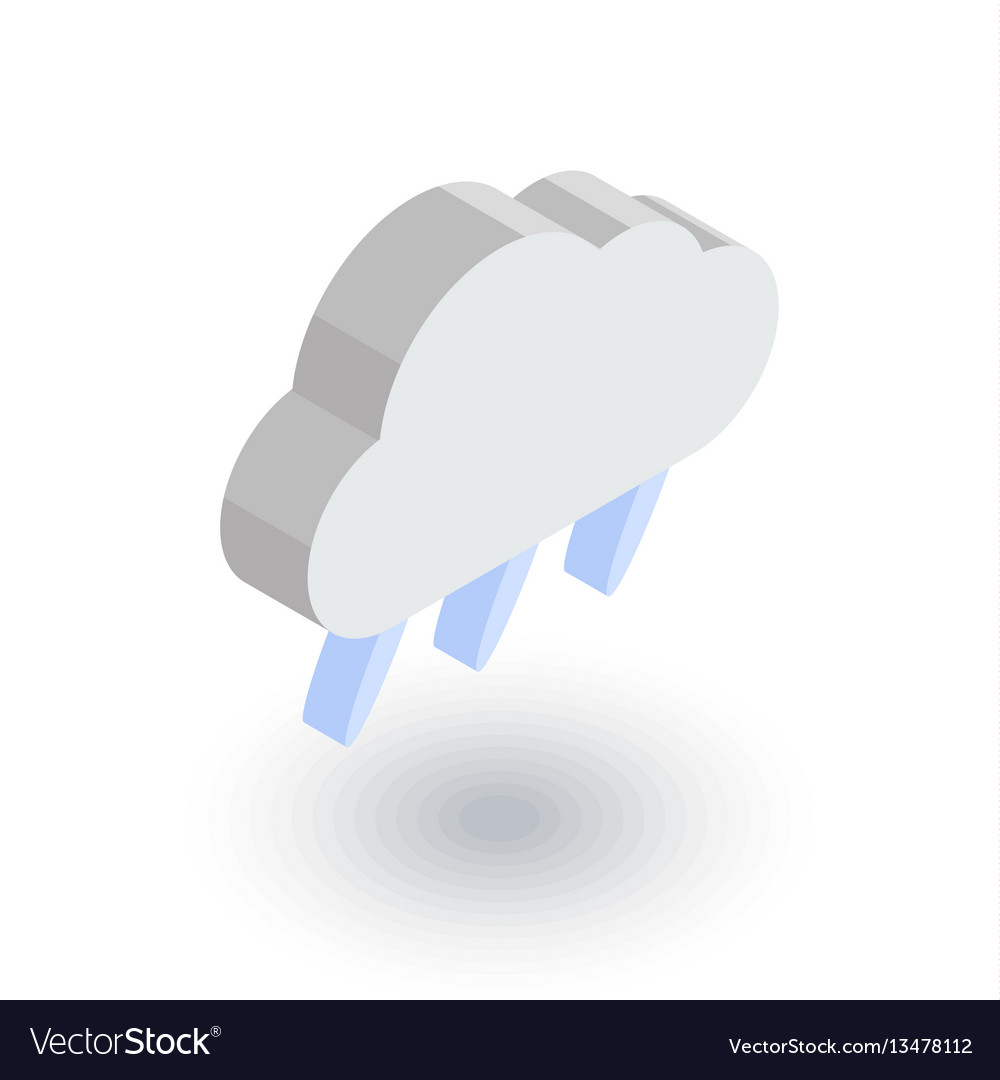 Cloud rain weather isometric flat icon 3d vector image