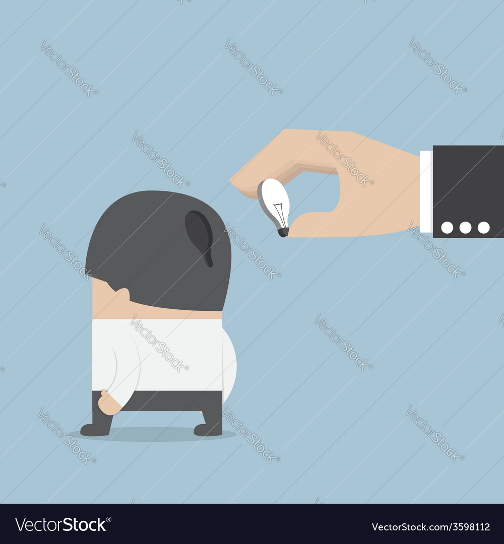 Hand holding light bulb of idea and input it into vector image