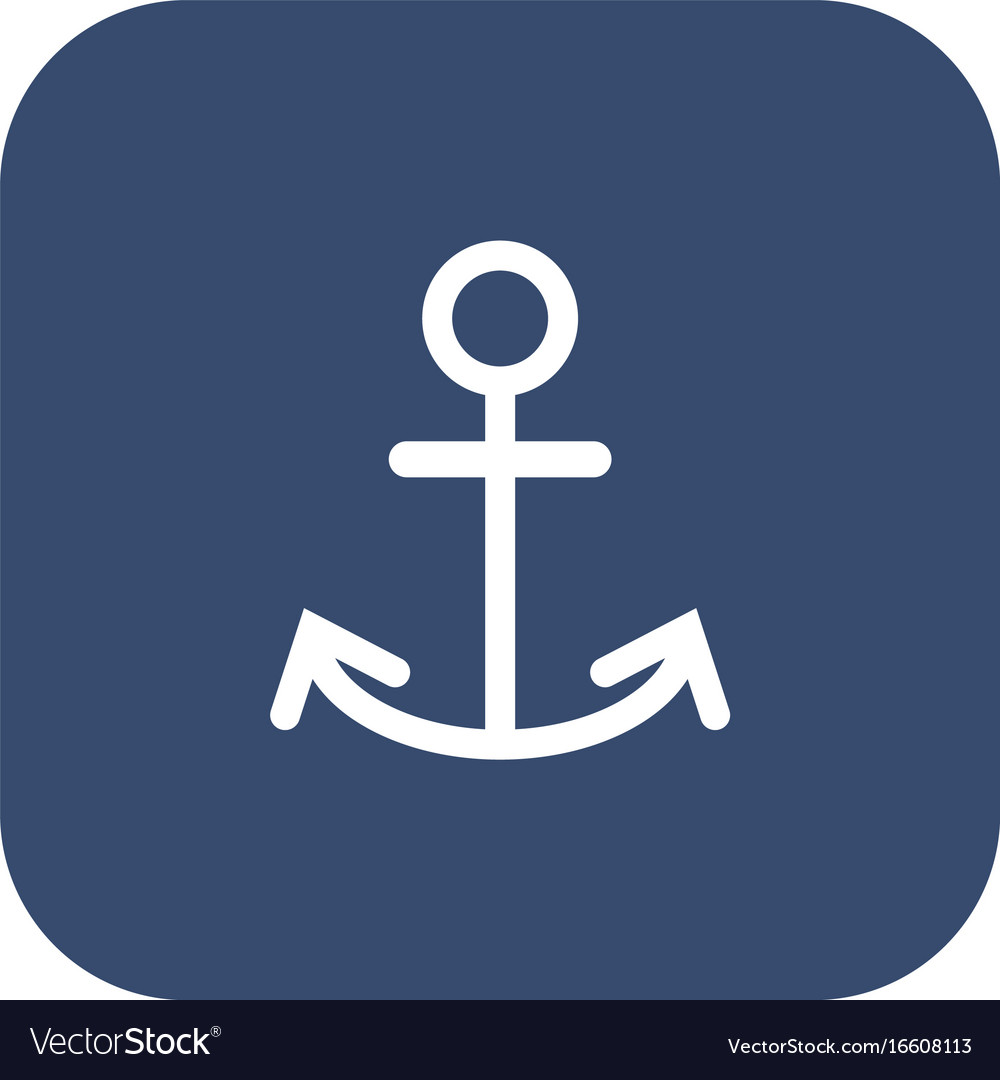 Anchor icon flat white pictogram on dark vector image