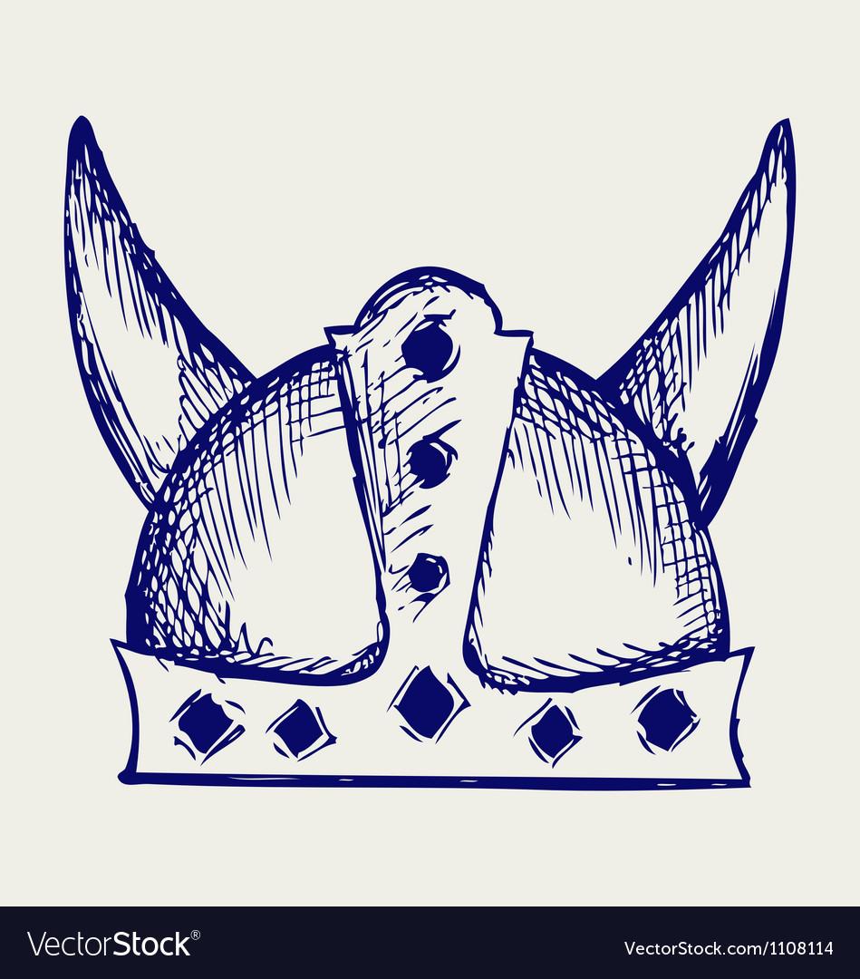viking helmet royalty free vector image vectorstock