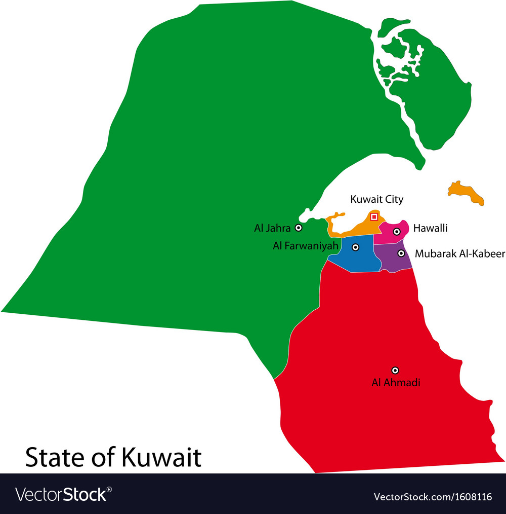 Kuwait map Royalty Free Vector Image VectorStock