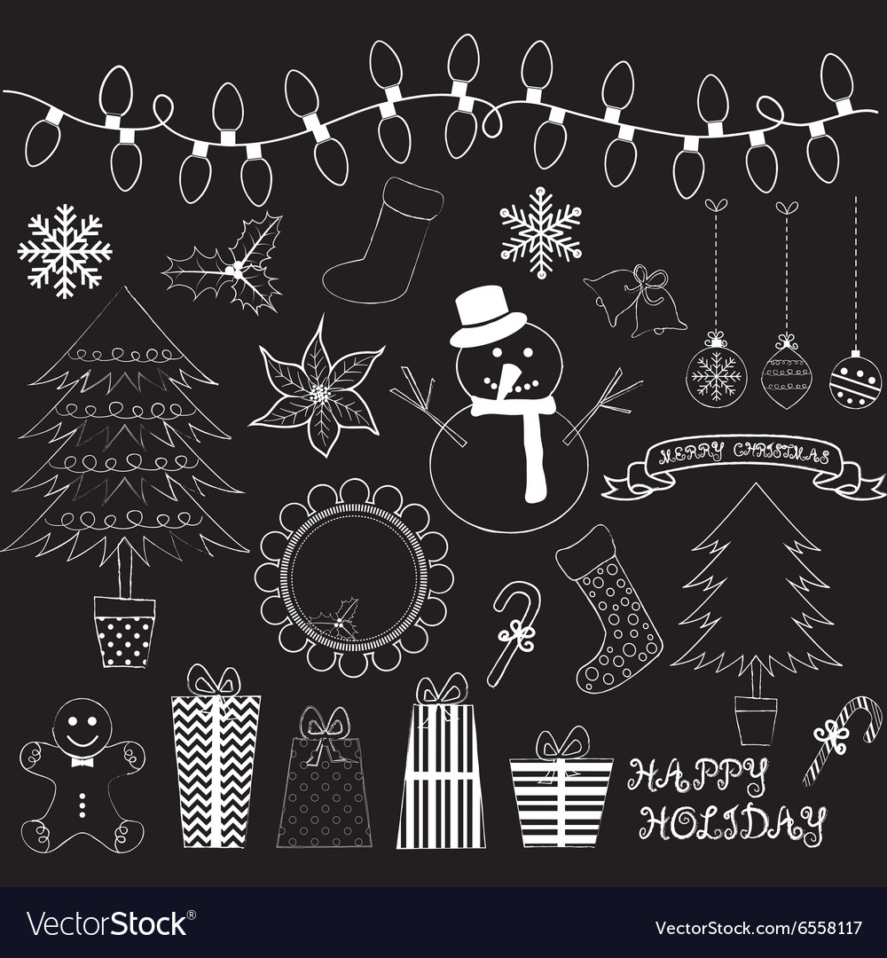 Chalkboard Christmas Doodles Collections vector image