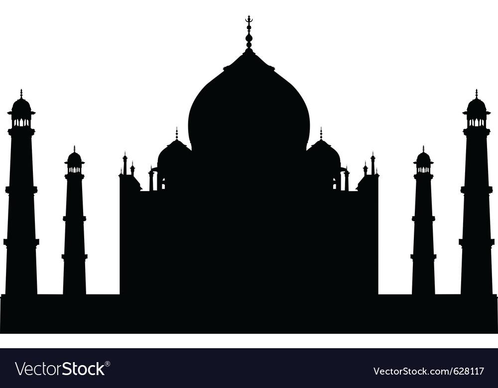 Taj mahal temple silhouette vector image