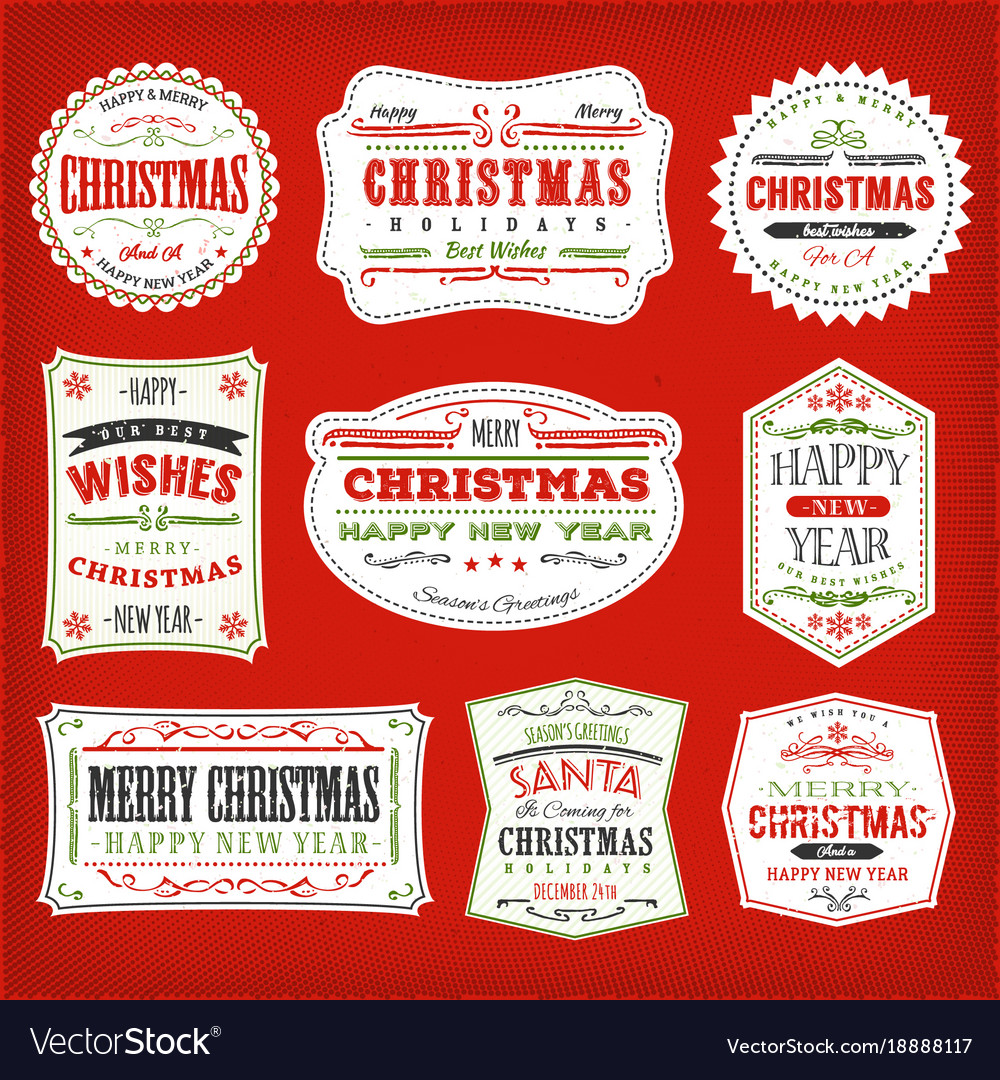 Vintage christmas frames banners and badges vector image