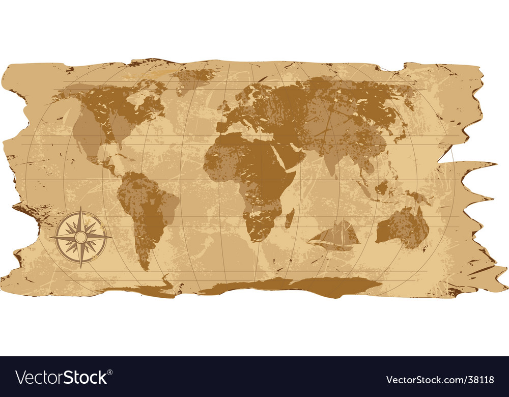 Grunge rustic world map vector image