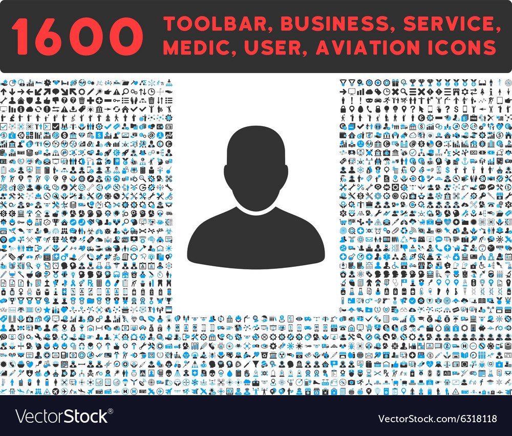 Customer Icon with Large Pictogram Collection vector image