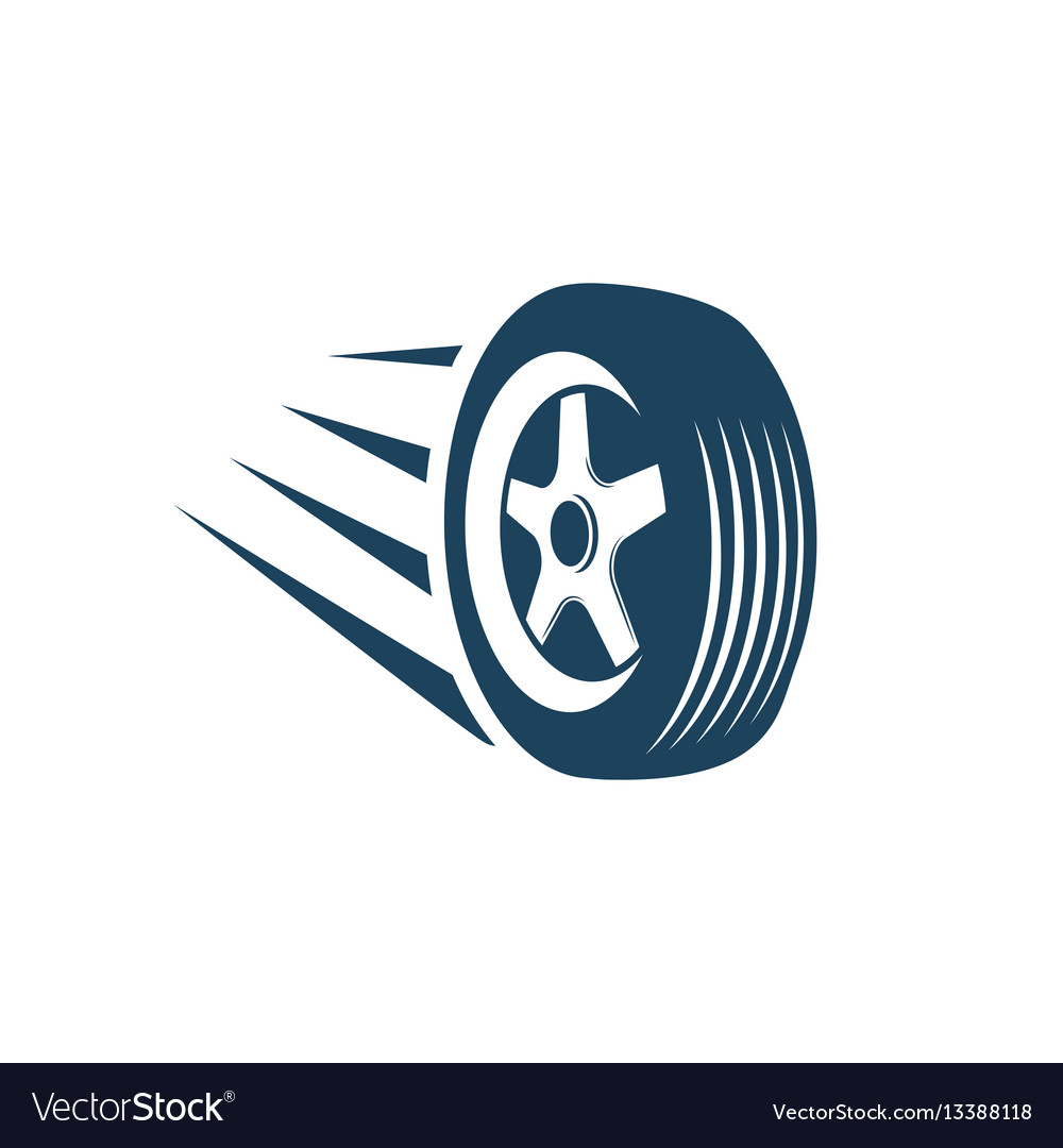 Isolated abstract blue color wheel logo icon car vector image
