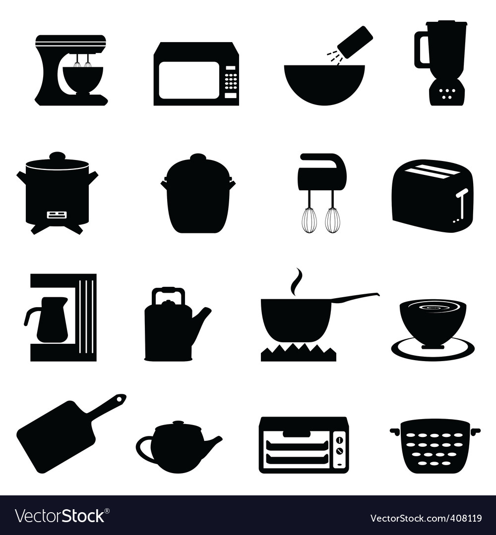 Set Of Black Kitchen Icons Utensils Stock Vector: Kitchen Icons Royalty Free Vector Image