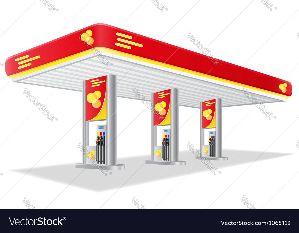 Car petrol station isolated on vector image