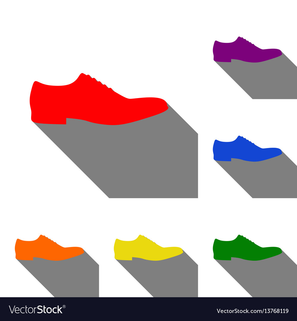 Men shoes sign set of red orange yellow green vector image