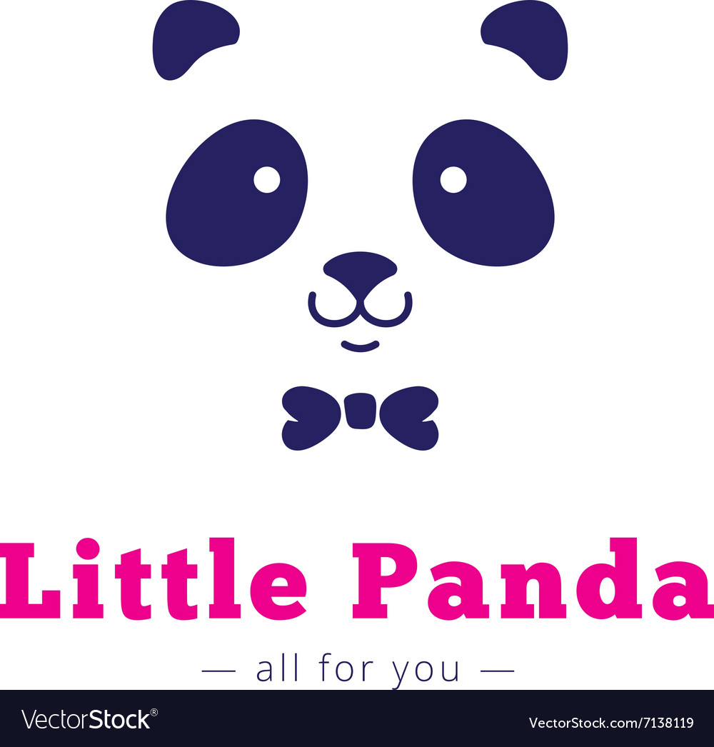 Minimalistic panda head with bow tie logo vector image