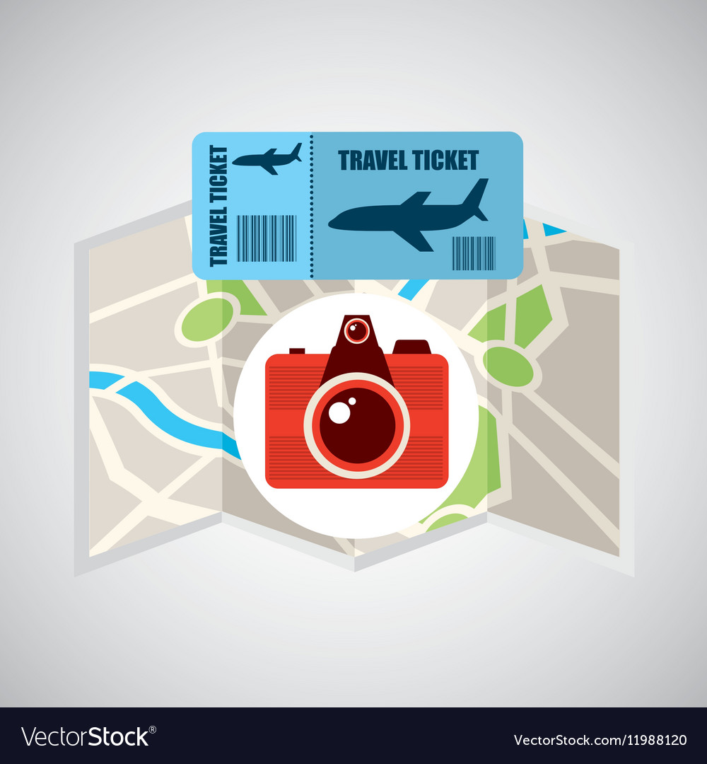 Airline ticket map travel photographic camera vector image