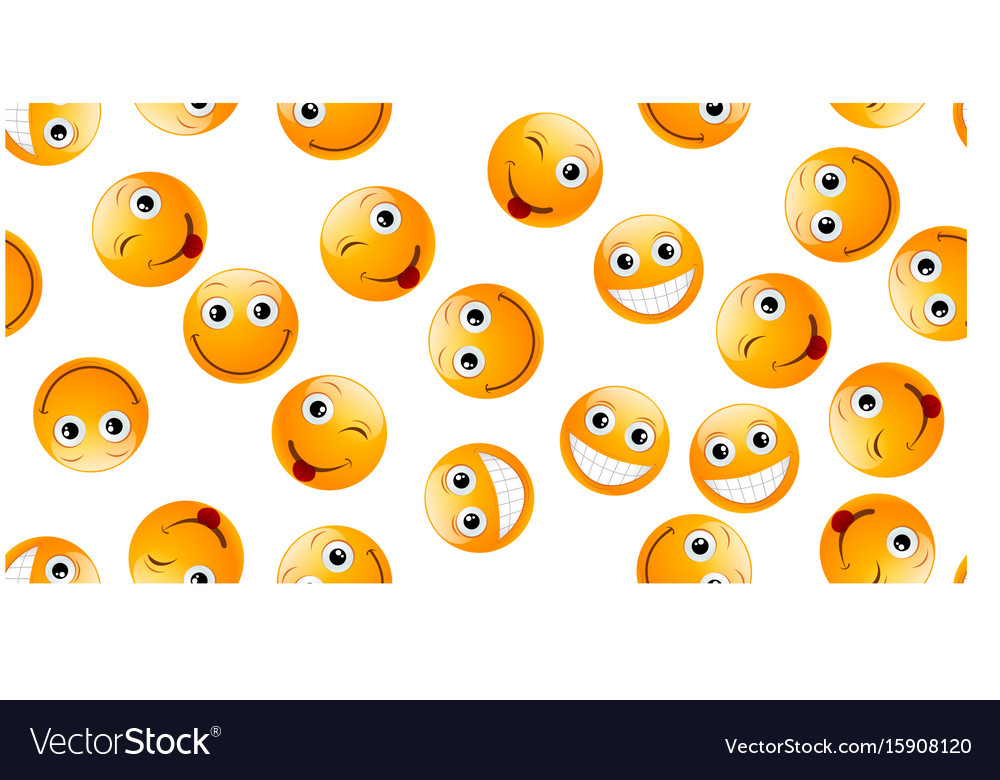 Seamless yellow emoticons vector image