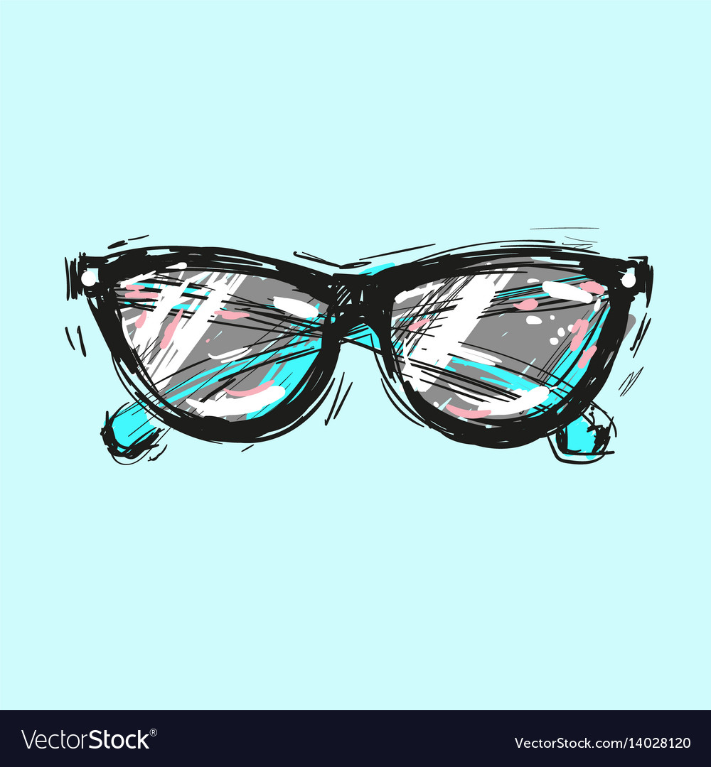 Sunglasses hand drawn fashion vector image