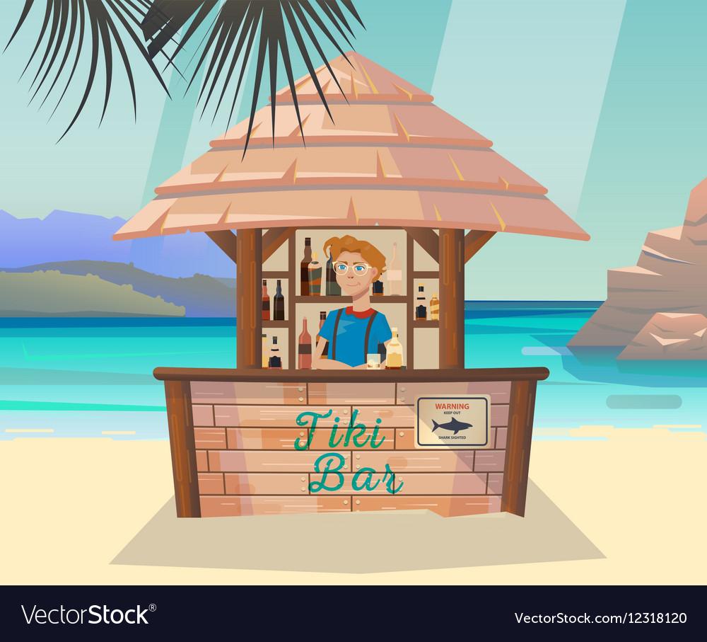 Tiki bar with bartender at sea or ocean shore vector image