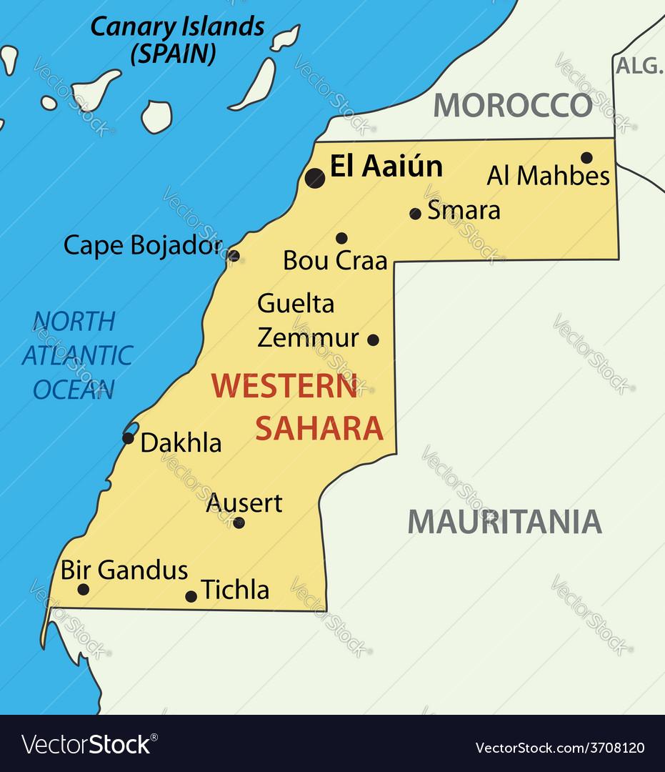 Western Sahara map Royalty Free Vector Image