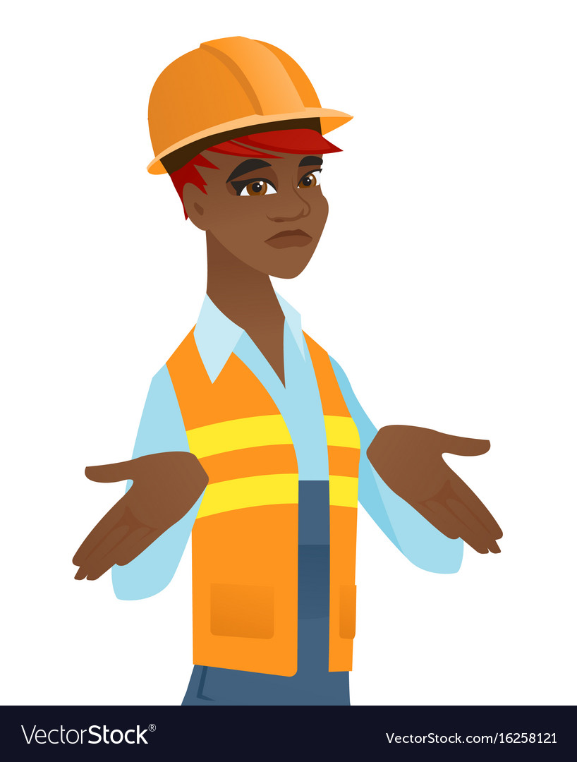 Confused african builder shrugging shoulders vector image