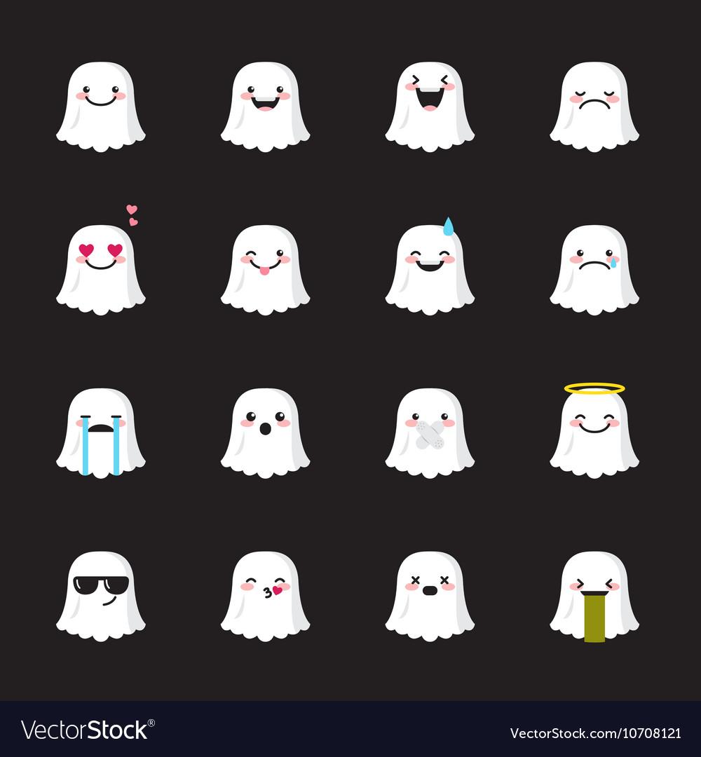 Ghost emoji set Funny halloween emoticons vector image