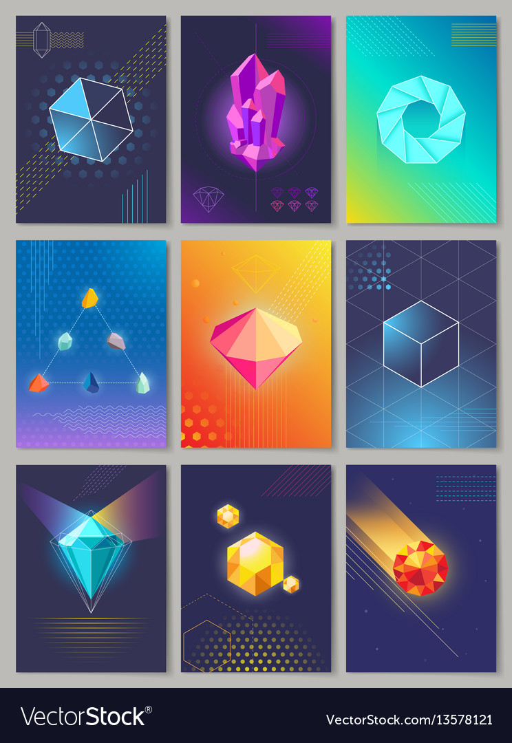 Precious stones colourful collection of nine vector image