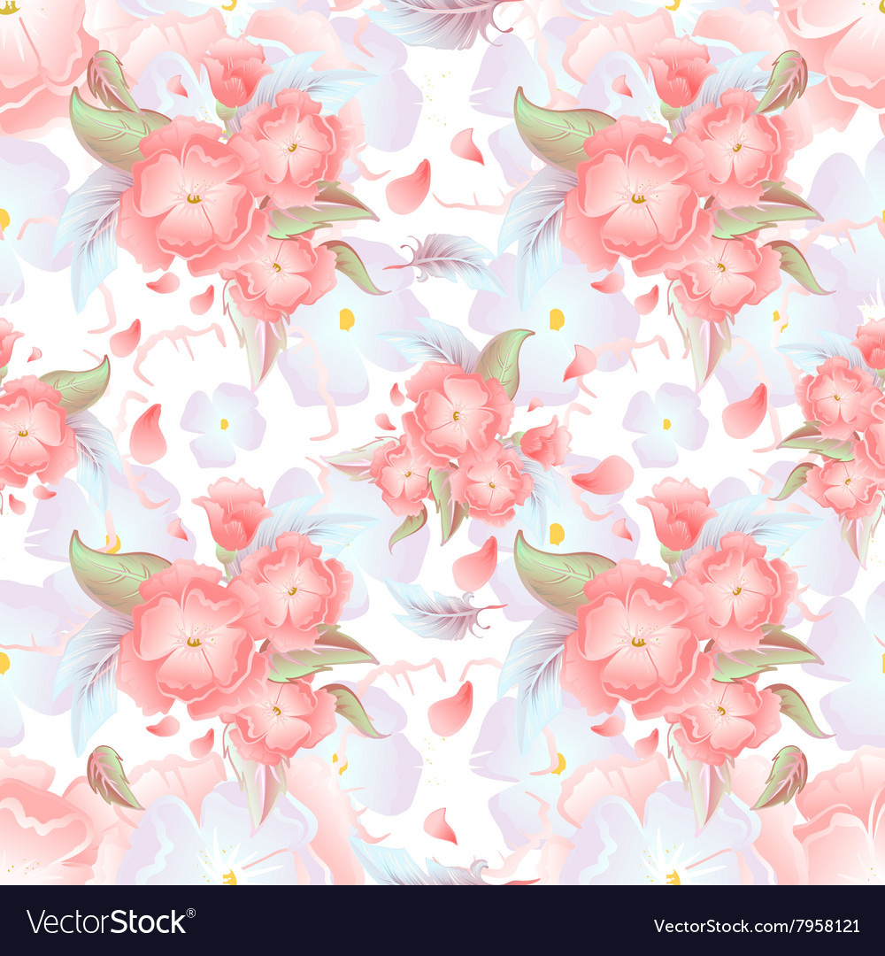 Seamless floral background Pink flowers on vector image